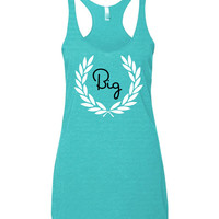 Big and Little Sorority Greek Wreath Matching Tanks