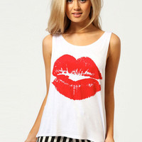White Red Lips Print Tank Top