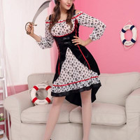 Black and White Skull Print Dress Pirate Costume