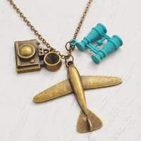 airplane necklace, wanderlust, travel necklace, bird watcher gift, binoculars, camera necklace, best friend, extra long necklace, christmas