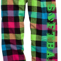Softball Neon Plaid Lounge Flannel Pant with Pockets