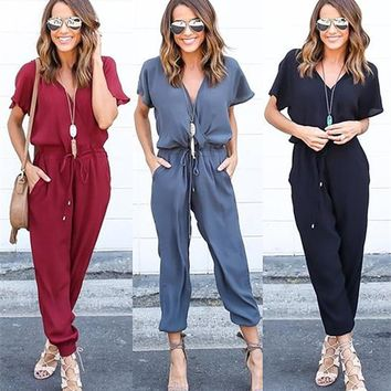 2018 New Jumpsuits Women Elegant Casual Sexy V Neck Short Sleeve Bandage Rompers Womens Jumpsuit Long Pants Bodycon Jumpsuit
