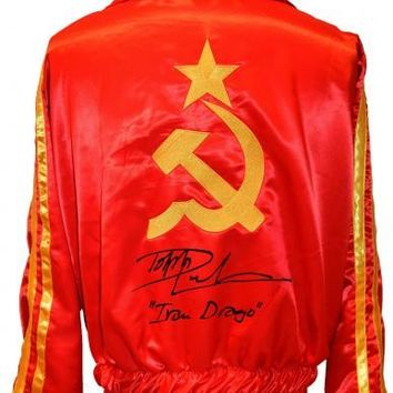 """Dolph Lundgren Signed Autographed """"Ivan Drago"""" Russian Boxing Jacket (ASI COA)"""