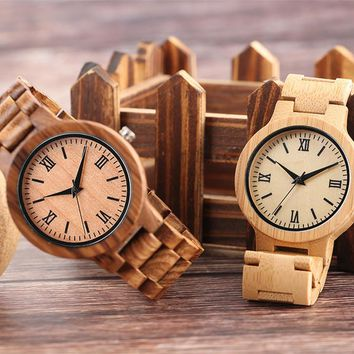 Women's Minimalist Roman Numerals Full Wooden Watch