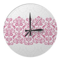 Pink Damask Lace Clock Can Be Personalized