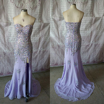 Sexy Sweetheart Neckline Fully Beaded Crystals Sheath Style Split Front Chiffon Long Prom Dress Formal Evening Dress FA001