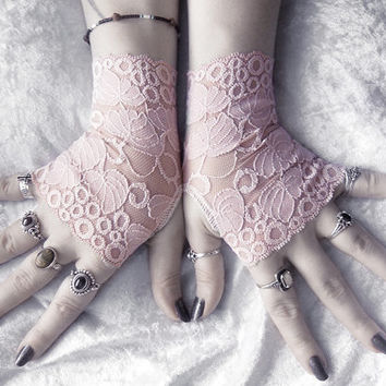Petiole Lace Fingerless Gloves - Dusty Rose Mauve Leaf Foliage - Wedding Austen Bridal Mori Gothic Victorian Regency Tribal Belly Dance Noir