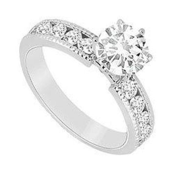 Semi Mount Engagement Ring in 14K White Gold 0.25 Carat Diamonds Not Included Center Diamond