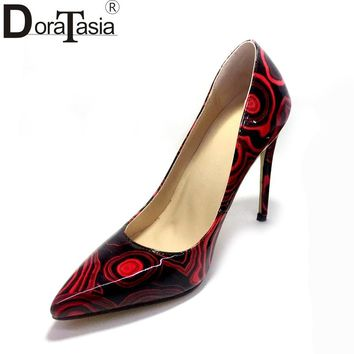 DoraTasia 2018 printing large size 34-47 customized pointed toe spring pumps women shoes thin high heels  wedding shoes woman