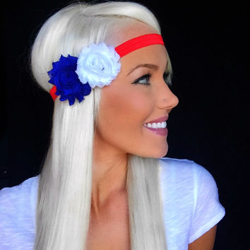 Patriotic July 4th American Red White Blue Elastic Headband w/ Chiffon Flower Hair Fourth Accessory Women Girl Head Band Cute Accessories