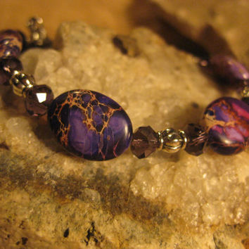Purple Imperial Jasper and Crystal Handmade Bracelet with Heart Toggle Clasp, Gifts for Her from The Hidden Meadow