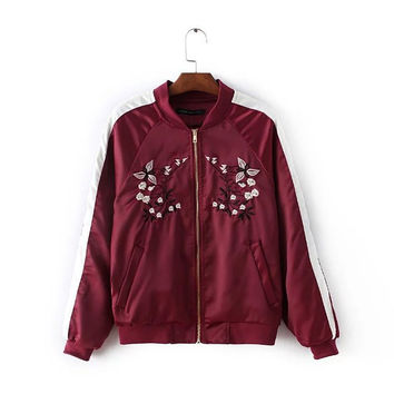 Burgundy Zipper Front Embroidery Jacket