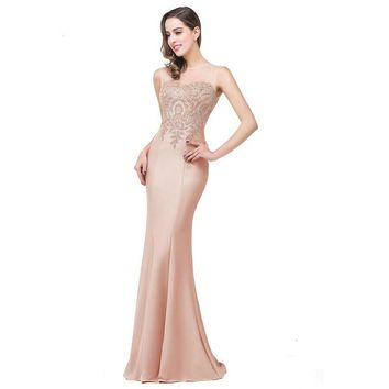 Mermaid New Royal Blue Long Evening Dress Formal Party Evening Gown With Appliques