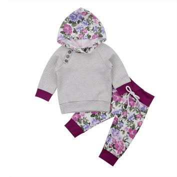 0-24M Baby Clothes Newborn Kids Toddler Baby Boy Girl Outfits Newborn Long Sleeve Hoodie Tops T-shirt+Floral Pants Clothes Set
