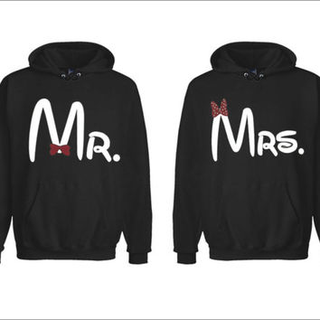 Mr. and Mrs. Disney Matching Couples Sweatshirts Hoodies Two for 49.99 perfect love gift Add a Custom-Made print (Name, Date, Picture..etc.)