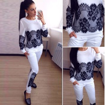 Hot Sale Lace Hoodies Pants Bottom & Top Sportswear Set [9839924239]