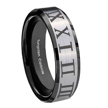 10mm Roman Numeral Beveled Edges Brushed Silver Black Tungsten Engagement Ring