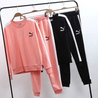 VONE056 PUMA Women Casual Top Sweatshirt Pants Sweatpants Set Two-Piece Sportswear
