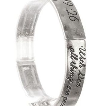 Scripture Etched Stretch Bangle Matthew 19:26 With God Braclet