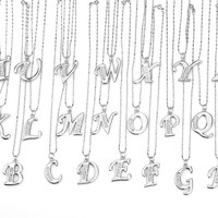 Womens Silver Crystal Rhinestone A-Z Letter Necklace