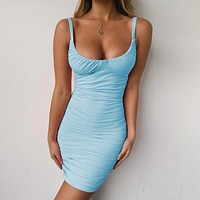 Fashionable Sexy Tight-fitting Women's Dresses with Pleats and Dresses