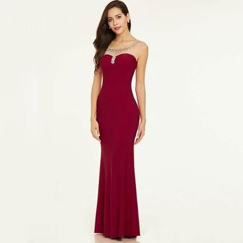 Beaded evening dress elegant red cap sleeves straight floor length gown  women backless long formal evening dresses