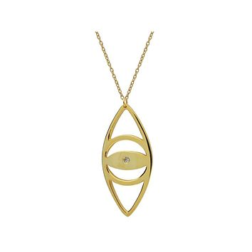 """Large Evil Eye Pendant Necklace in 18k Gold Plated Sterling Silver, 24"""""""