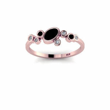 Diamonds and Black Onyx 14K Rose Gold Ring Stackable Ring Gold Ring Delicate Band