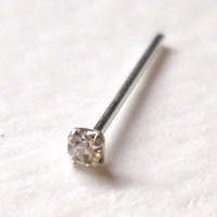 925 Sterling Silver Nose Stud 23 Gauge,clear Clear Rhinestone Brand New