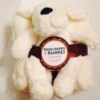 "Plush Beige Color Puppy & Super Soft 50"" x 60"" Blanket Gift Set 13"""