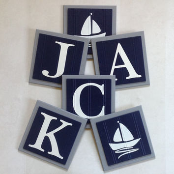 Gray and Navy Blue Nautical Baby Boy Nursery, Name Wall Letter SailBoat Room Decor, 6 x 6 Personalized Wooden Plaques Baby Shower Gift Ideas
