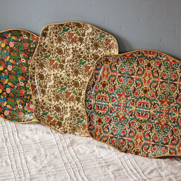 Set of Three Vintage Paper Mache Wooden Serving Trays
