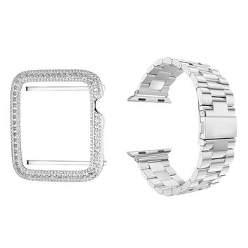 Stainless Steel 14k White Gold Finish  42mm Band & Sterling Silver Iced Out Bezel Apple Watch
