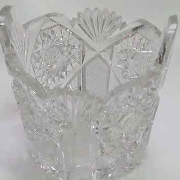 ABP cut glass ice tub Antique crystal Made in USA ABP