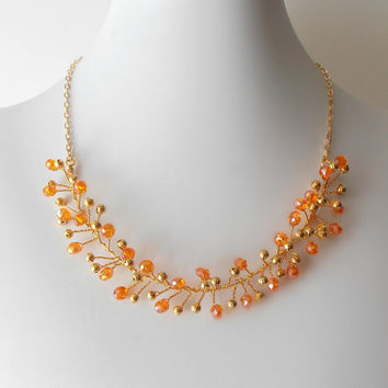 Wedding Jewelry Orange Necklace Tangerine Crystals Beaded Wire Maid of Honor Necklace Beaded Jewelry Wire Twisted Necklace