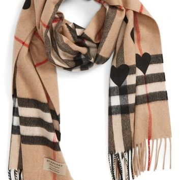 Burberry Heart & Giant Check Fringed Cashmere Scarf | Nordstrom