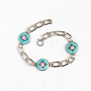 Enamel Flower Bracelet - Art Deco Era Sterling Silver Guillochoe - Children's Petite 1920s Baby Blue & Pink Floral Motif Charm Panel Jewelry