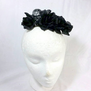 Day of the Dead Headband/Dia de los Muertos Black Rose Headband/Frida Kahlo Skull Halloween Costume