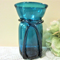 Hand Blown Vase Blue Art Glass Home Decor Turquoise Aqua Collector Vintage blm