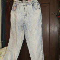 80S Acid washed high waist denim MANISHA jeans sz 13