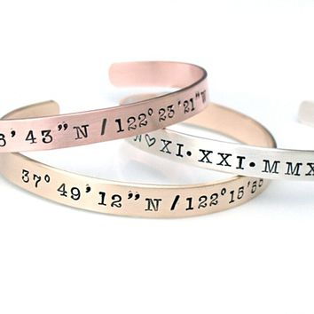 Gold Copper Silver Coordinate Bracelet - GPS Coordinate Bracelet - Gold Cuff Bangle - Latitude Longitude Location Jewelry