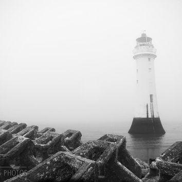 Lighthouse canvas art, black and white photography, nautical decor, seascape, fine art photography, oversized art, gallery canvas wrap,large