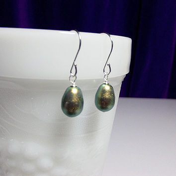 SET 5 Pairs Swarovski Iridescent Green Pearl Teardrop Earrings Wedding Bridesmaid Maid of Honor Jewelry Gifts Favors Cocktail Christmas