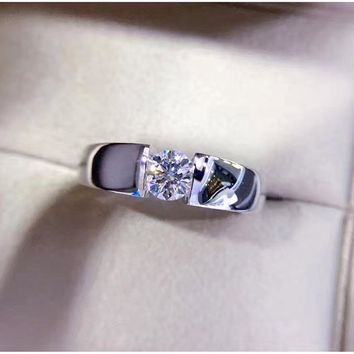 ANI 18k White Gold (AU750) Men Ring Certified F-G/SI 0.52 CT Solitaire Round Cut Natural Real Diamond Engagement Ring Custom