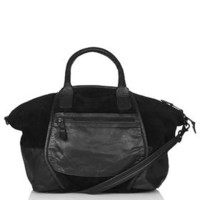 Leather and Suede Holdall - Black