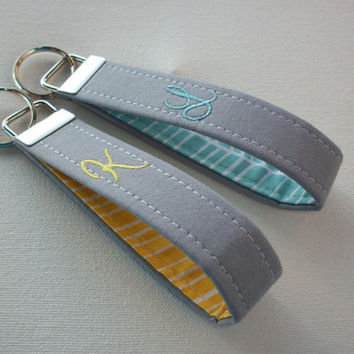 personalized Key Fob Key FOB / KeyChain / Wristlet  -  Monogrammed - embroidered - gray with yellow or aqua heringbone