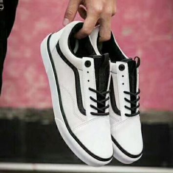 Vans x The North Face Old Skool Fashion Women Men Comfortable Flats Sport Sneakers Shoes White I-CSXY