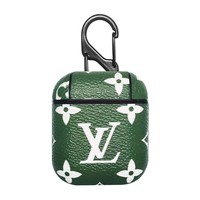 Inspired Designer Color Monogram Protective Airpod Case - Green & White