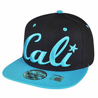 California Republic Cali Script Two Tone Black Snapback Blue Flat Bill Hat Cap