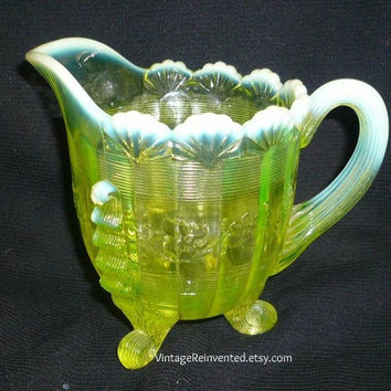 Yellow Glass Creamer Vaseline Opalescent Fluted Scroll